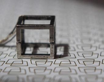 Open Silver Cube Pendant  Geometric Square Necklace  Industrial Oxidized Silver, Gunmetal  Modern  Gift Box