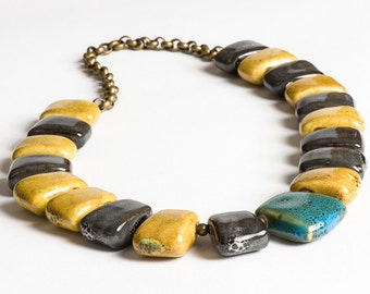 Turquoise, Gray, Yellow Porcelain Statement Necklace with Brass Chain - Cavewoman