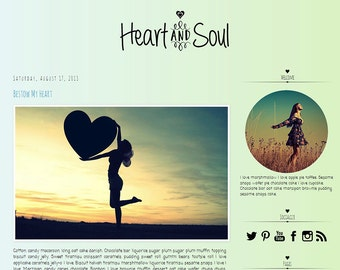 Premade Blogger Template - HEART and SOUL - Mobile Responsive - Graphic Design - Blog Template
