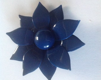 Large dark blue retro flower brooch