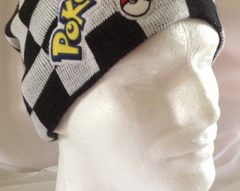 Checkered Hat w Pokemon Title and Pokeball Applique made from up-cycled Pokemon fabric
