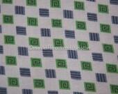 Whimsical Geometric - Vintage Fabric Full Feedsack 50s 60s Green Purplish Gray