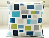 cushion cover teal blue, lime green, turquoise, grey, navy , 16 inch decorative throw pillow cover