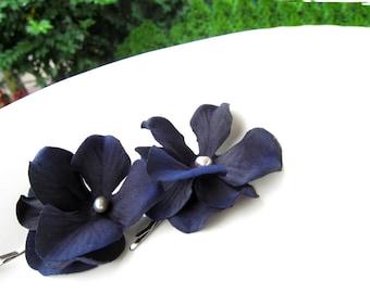 Navy blue flower hair pins - set of 2 -  wedding hair accessories, bridesmaid hair flowers