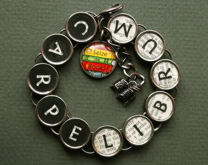 Carpe Librum Bracelet Seize the Book Literary Bookish Themed Jewelry