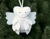 Felt Angel Owl Ornament, Child Friendly Plush Animal Ornament, White Christmas Decor, Handmade by OrdinaryMommy on Etsy