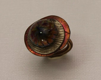 Lampwork and Bronze Ring