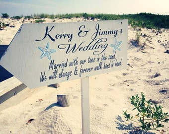 Beach Wedding Signs - Beach Wedding Decorations - 24x10 FREE Stake- Wedding Arrow Signs