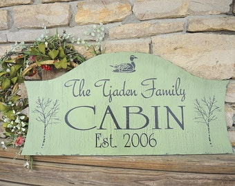 Custom CABIN Signs-  LAKE House Signs or BEACH sign 28x14 Personalized Signs