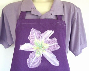 Lavender White Daylily Violet Hand Painted Flower Garden Kitchen Apron Moonlight Orchid