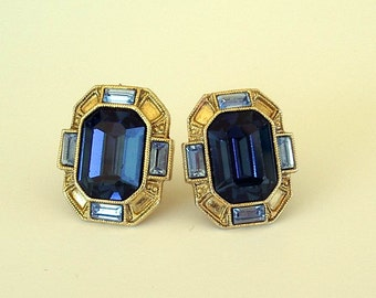 Clip On Earrings Vintage 1970s Blue Topaz Look Gold Color Earrings