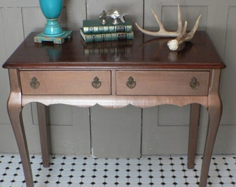 Custom )) VinTAGE aNTiQue Metallic Aged COPPER Queen Anne French Provincial DESK