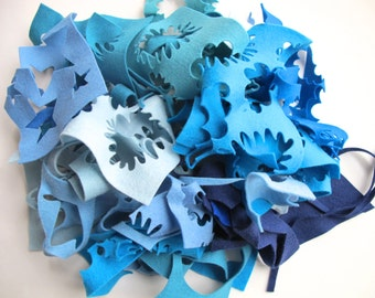 Blue Felt Scraps, Wool Felt Scrap Bag, Felt Assortment, Wool Remnants, Pure Merino Wool