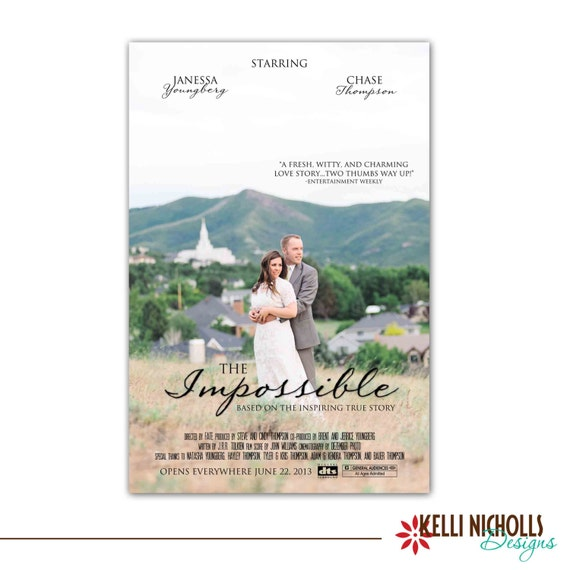 Kelli Nicholls Designs Custom Wedding Reception Movie Poster