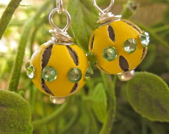 Awesome yellow leather and crystal earrings look out of this world - saucer - green - ufo - celestial - silver dangle fun accessories