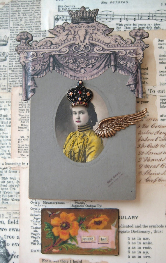 Queen Bee Steampunk Assemblage Collage antique photos vintage ephemera wings old typewriter mixed media