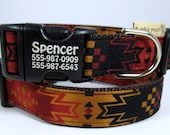 Chief Joseph Blanket dog collar with personalization in rust, carmel, and midnight black geometric design