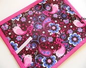 Chalkimamy Michael Miller birds and flowers TRAVEL chalkboard mat/ placemat (a)