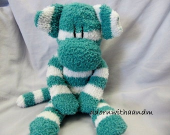 "Sockimamy  ""Milan"" a teal turquoise green and white striped fuzzy sock monkey"