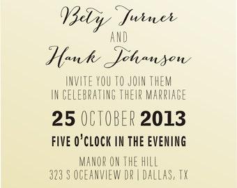 DIY Wedding invitation  vintage design typewriter font rubber stamp clear block mounted -style 6055INVITATION  - custom wedding stationary