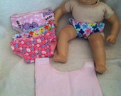Baby Doll Flannel Diapers, fit American Girl Doll Bitty Baby.