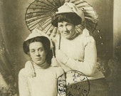 1909 Vintage RPPC Real Photo Postcard Ladies In Knit Hats With Japanese Parasol Antique Photograph Post Card