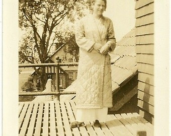 Vintage Photo Girl In Bathrobe And PJs Outside Second Story Window Coffee Would Be Nice Photograph