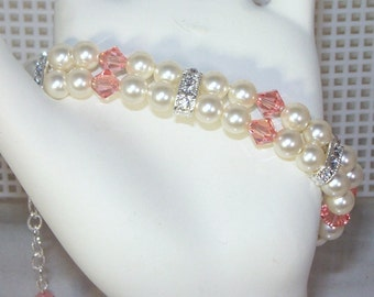 Swarovski Pearl & Crystal Jewelry - Shown with Ivory Pearls and Rose Peach Crystals - Any Color - SHIPS WITHIN 24 Hrs