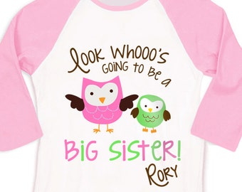 Big sister or big sister to be look whooo's owl pregnancy announcement pink/white raglan shirt