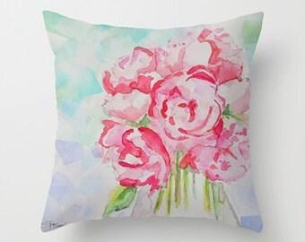 Pink Floral Pillow, Pink Throw Pillow, Floral Decorative Pillow, Cushion, Floral Decor, Home Decor