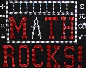 Rhinestone Teacher T-Shirt - Bling Shirt - School Teacher, Math, Teacher Apparel