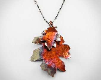 Copper Leaves Necklace on Sterling Chain colorful fall autumn jewelry hammered forged metal leaf