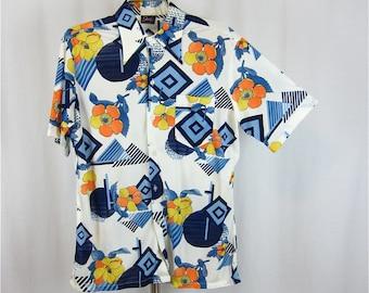 Vintage 60s 70s Groovy Mod Men's Shirt, Sz L