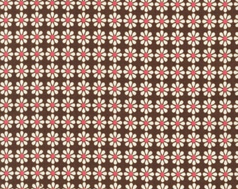 ORGANIC: Brown flowers from the Chick Chick line by Nancy Mims for Robert Kaufman, 100% Organic Fabric in Bright