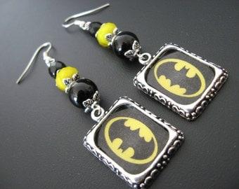Batman Jewelry, Batman Earrings, Comic Book Earrings, Comic Book Jewelry, Super Hero Earrings, Super Hero Jewelry, Retro Jewelry