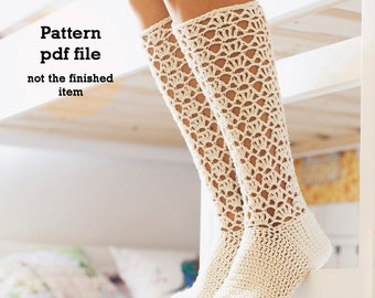 Instant download - Crochet PATTERN for socks (pdf file) - Ladies Lace Socks
