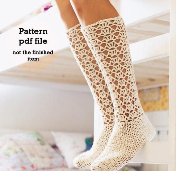 Crochet PATTERN  - Ladies Lace Socks