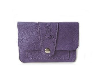 leather wallet purple rabbit tail
