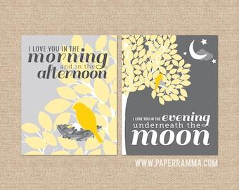 Nursery artwork, Skidamarink Art, I Love You In the Morning... // Nursery / Kids Room Art Prints, Set of 2 // N-G17-2PS AA1