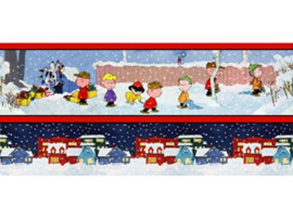 Peanuts Christmas Fabric Stripe 1 Yard