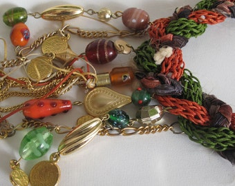 Tribal  necklace, Braided  authentic necklace, ethnic knit  necklace, gold plated , glass bead