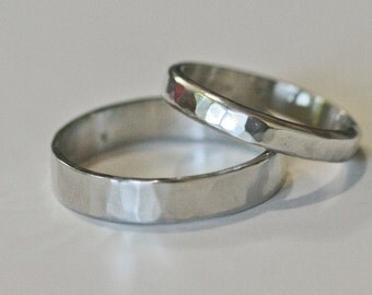 Recycled Platinum Wedding Ring Set Hand Forged