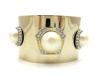 Gold Plated Cuff with Pearls