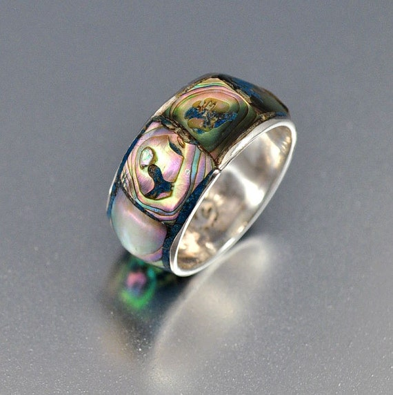 vintage sterling silver abalone band taxco ring mexico silver