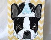Chevron Boston Terrier Greeting Card