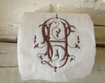 Embroidered Toilet Paper - Monogram - Guest Bathroom - Toilet Paper Holder - Decor