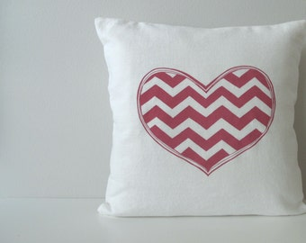 Chevron Heart Pillow Cover - Cushion Cover - 16 x 16 inches - Choose your fabric and ink color