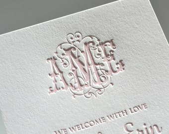 Flourish custom monogram letterpress birth announcements, free shipping in the US
