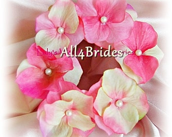 Bridal or bridesmaids hydrangea flower hair pins, hot pink and ivory mix.