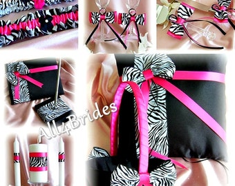 Zebra Wedding Hot Pink And Black flower girl basket, ring pillow, guest book, garters, candle, flutes, cake set, 13pc Set